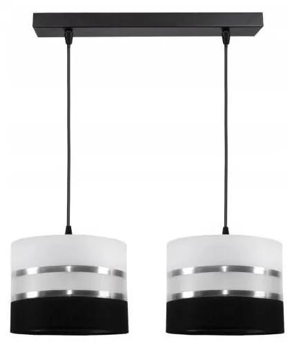 Lustră pe cablu CORAL 2xE27/60W/230V alb-negru