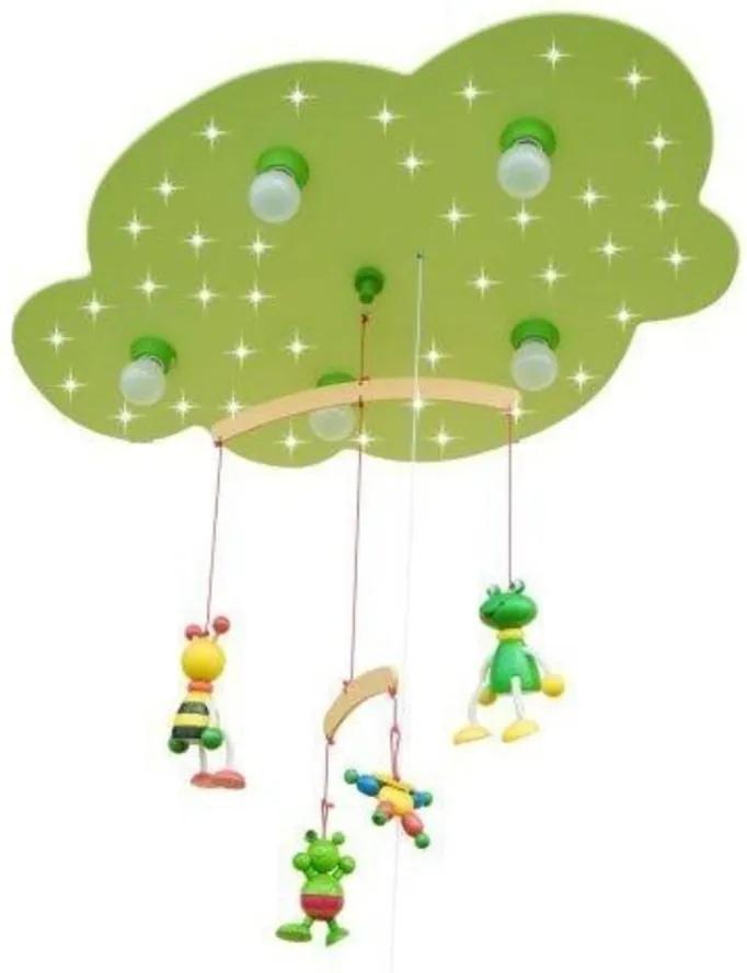 Elobra 125953 Plafoniere pentru copii FROSCH verde Lemn 5 x E14 max. 40 Watt,+ 40 x LED max. 0.18W IP20