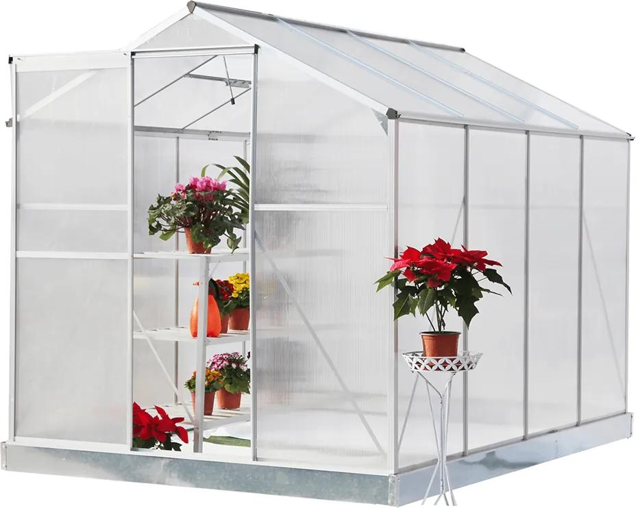 Seră de grădină, policarbonat, 190x253,5x219cm, KACEN TIP 3