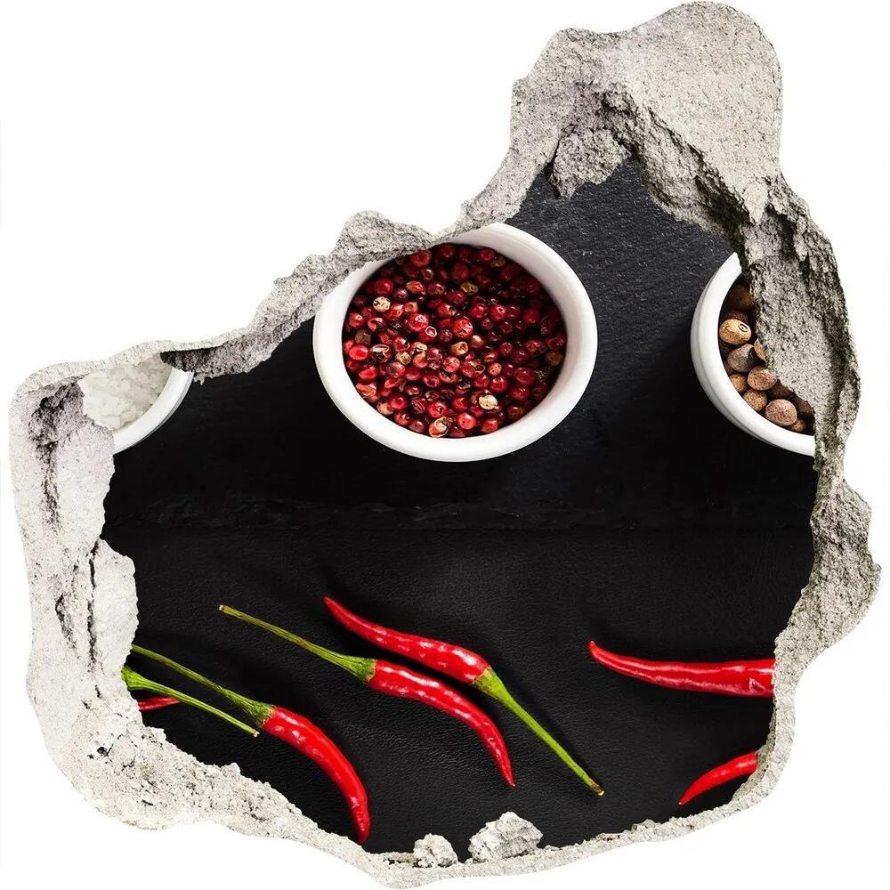Autocolant de perete gaură 3D Condimente și ardei iute