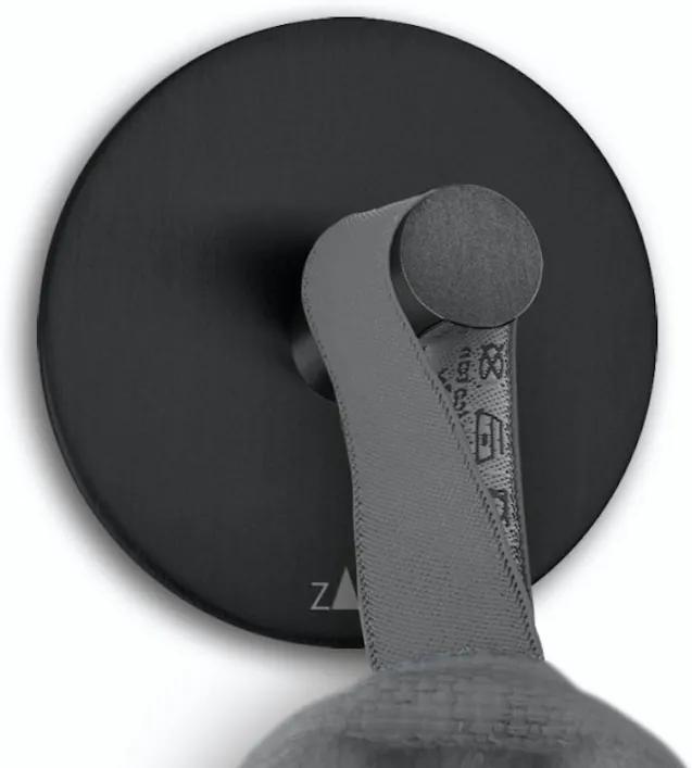 Cuier pentru prosoape DUPLO set 2 buc., formă rotundă, culoare neagră - ZACK