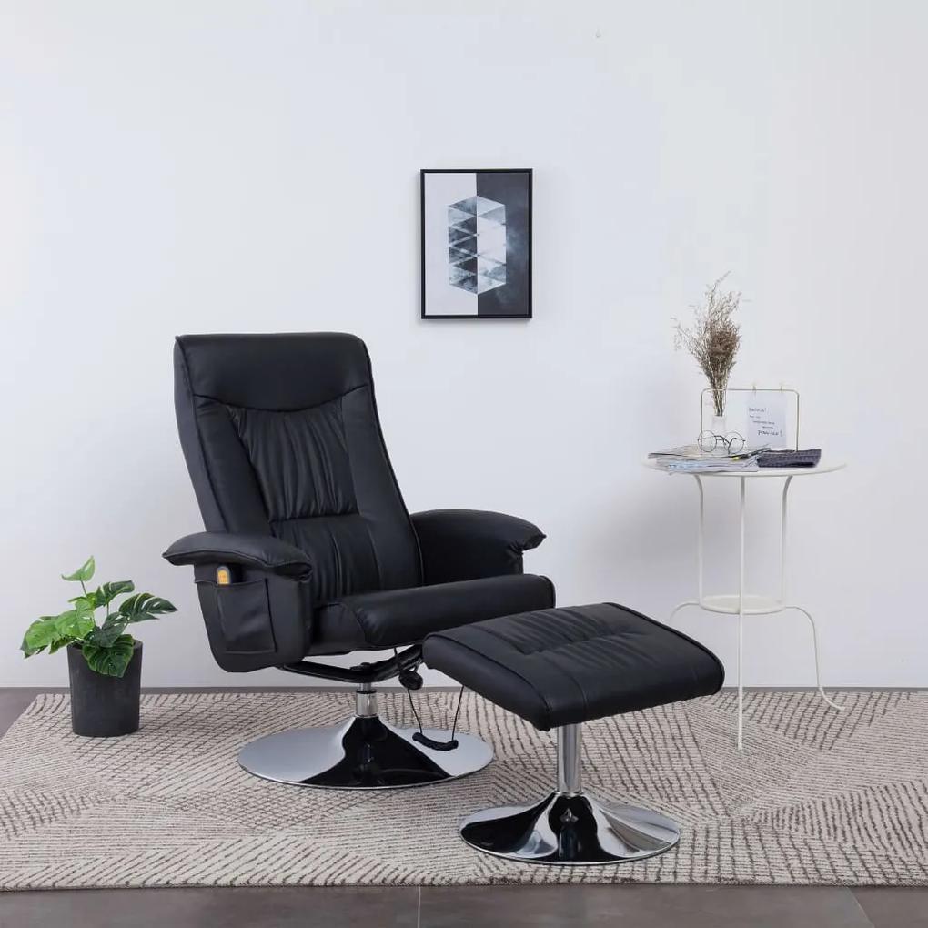 248493 vidaXL Fotoliu de masaj rabatabil cu taburet, negru, piele ecologică