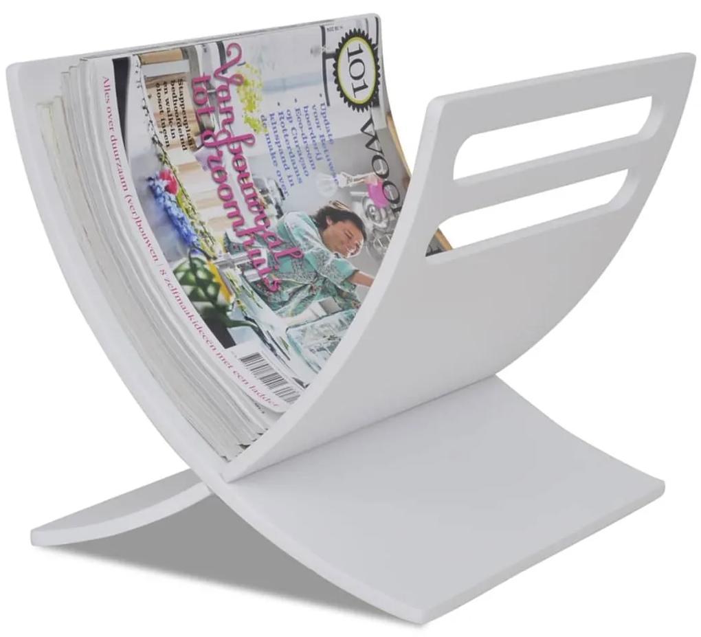 241219 vidaXL Suport din lemn pentru reviste, vertical, alb