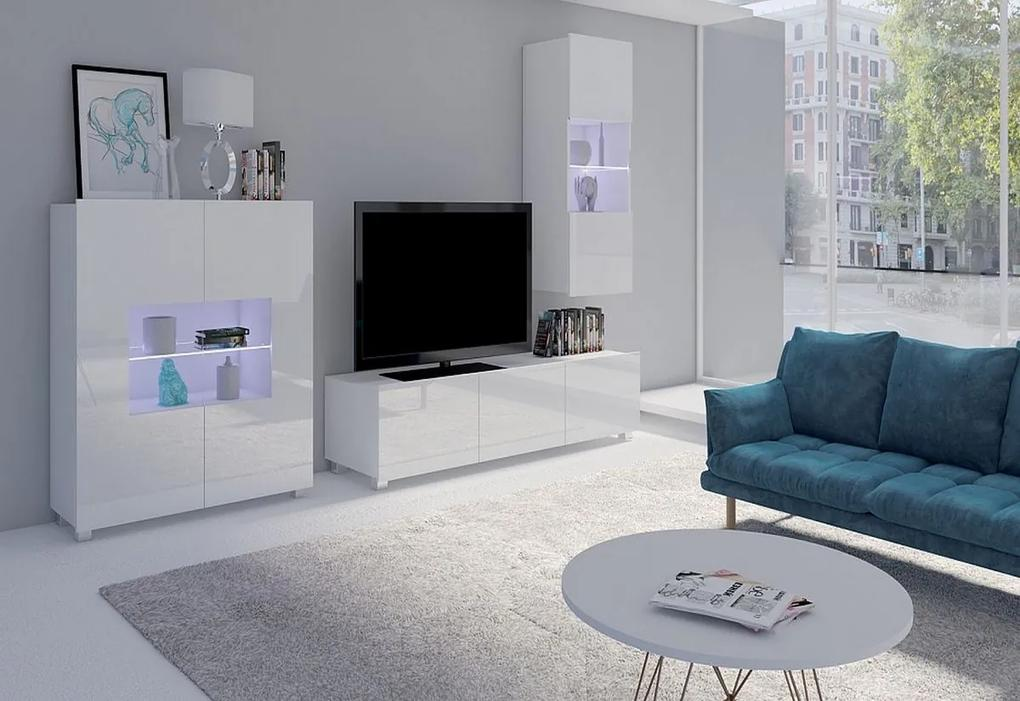 Expedo Set living BRINICA NR7, negru/negru luciu + LED albastru