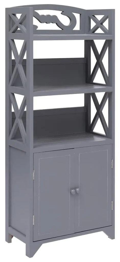 284110 vidaXL Dulap de baie, gri, 46 x 24 x 116 cm, lemn de paulownia