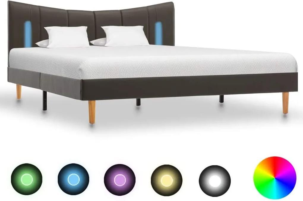 Cadru de pat cu LED, antracit, 140 x 200 cm, piele ecologica