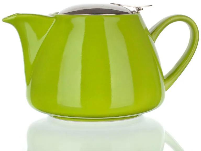 Ceainic din ceramică cu capac din inox și sită Bonnet culoare verde BANQUET