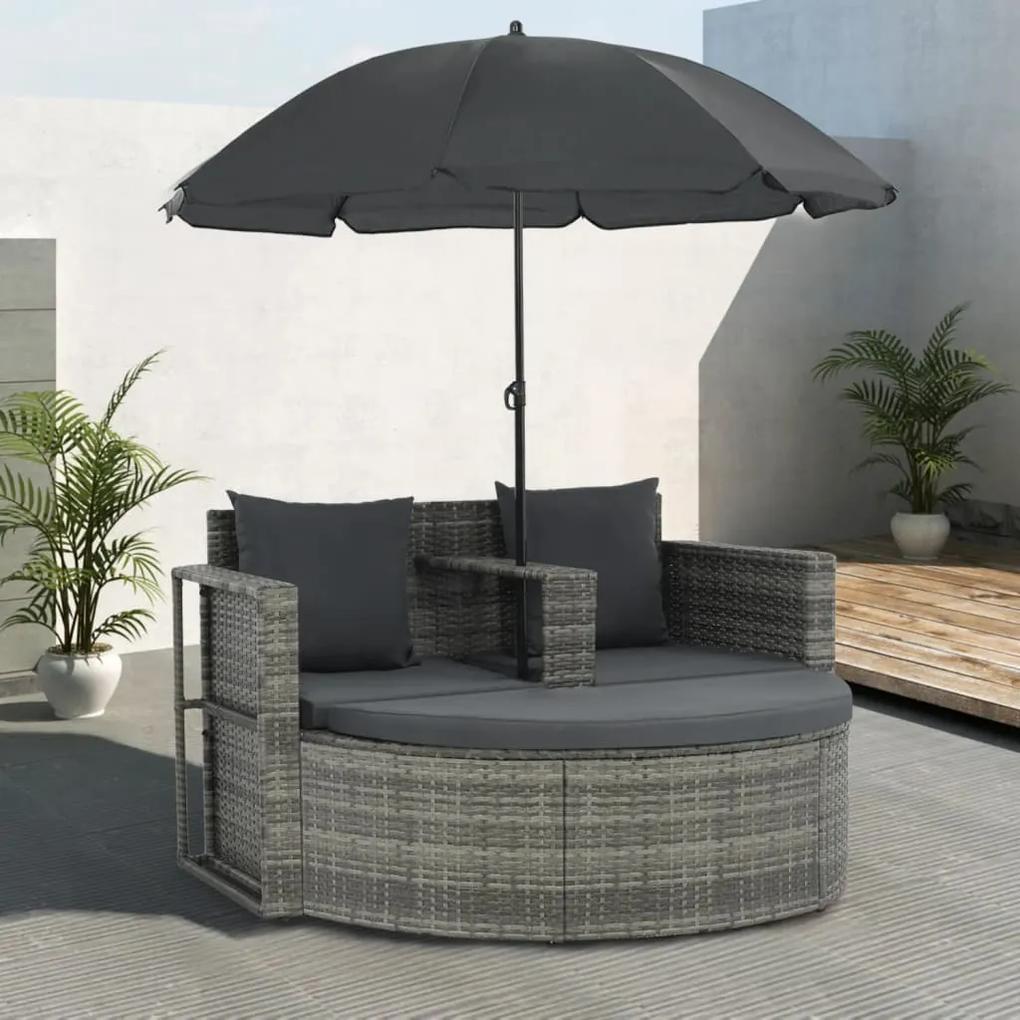 44478 vidaXL Canapea de grădină cu 2 locuri cu perne & umbrelă gri poliratan