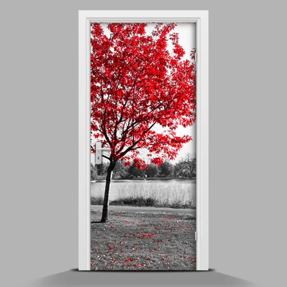 Autocolant pentru uși Copac roșu