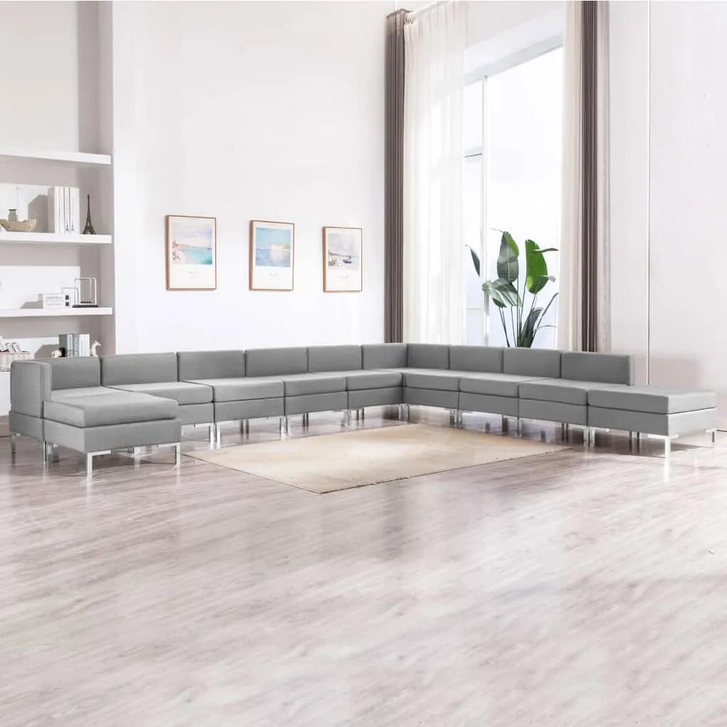 Set de canapele, 11 piese, gri deschis, material textil