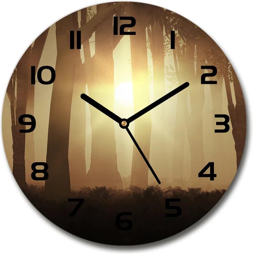 Ceas rotund de perete din sticlă Ceață în pădure