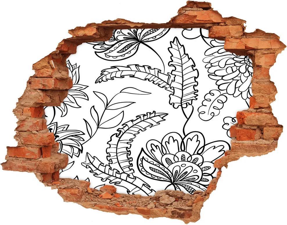 Autocolant de perete gaură 3D Model floral