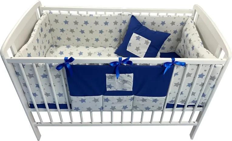 Deseda - Lenjerie de pat bebelusi cu aparatori laterale pufoase si buzunar  Stelute bleumarin