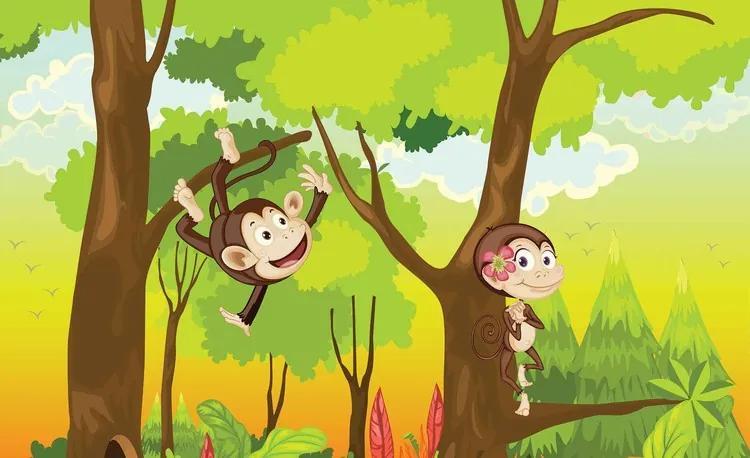 Monkeys Boys Bedroom Fototapet, (312 x 219 cm)