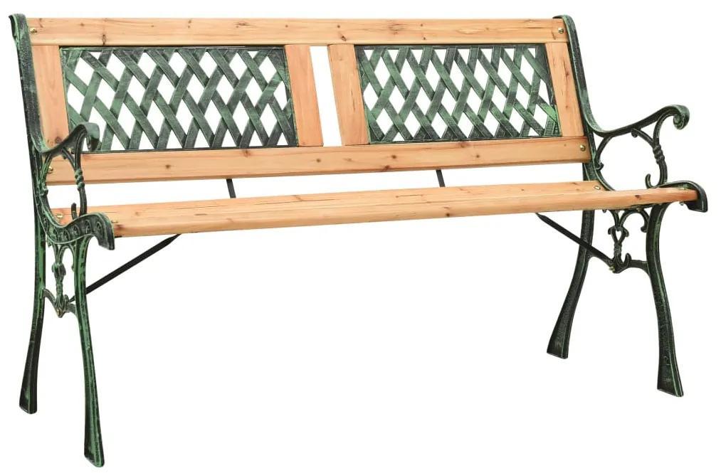 312033 vidaXL Bancă de grădină, 122 cm, fontă și lemn masiv de brad