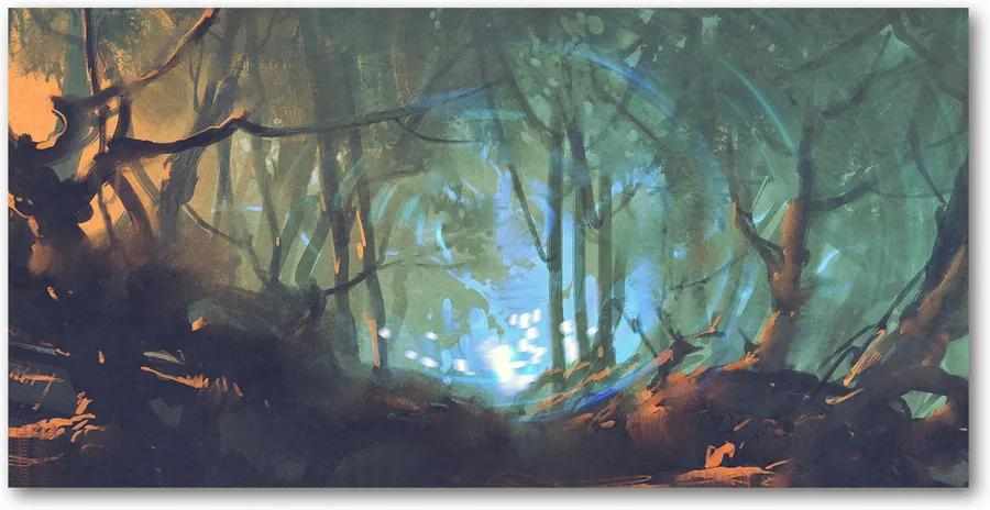 Tablou pe pe sticlă Pădure mistic