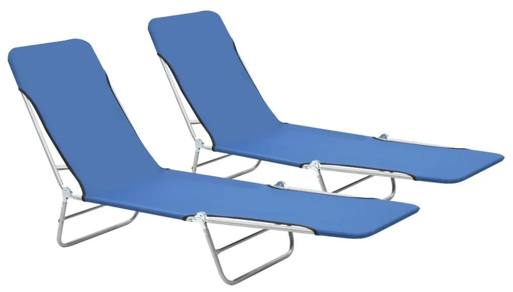 44299 vidaXL Șezlonguri de plajă pliabile, 2 buc., albastru, oțel & textil
