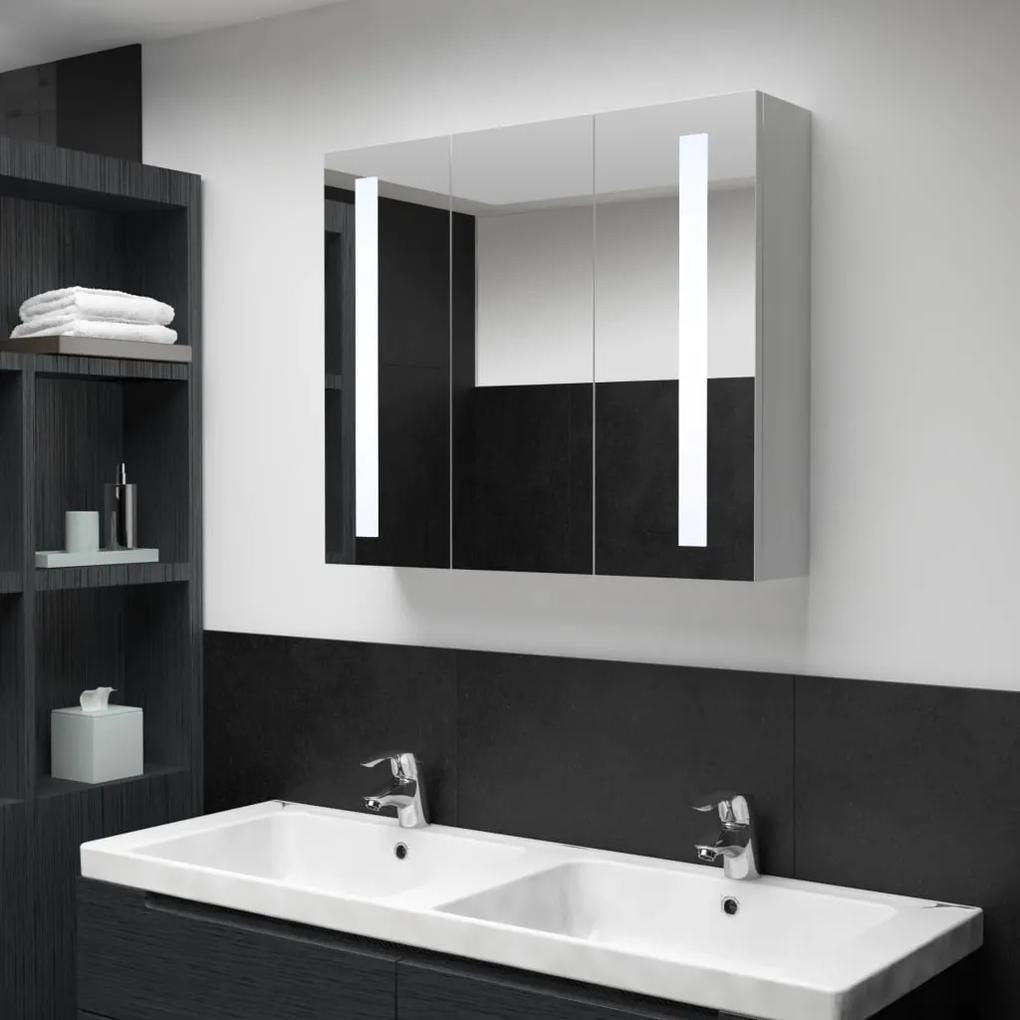 285126 vidaXL Dulap de baie cu oglindă și LED, 89 x 14 x 62 cm