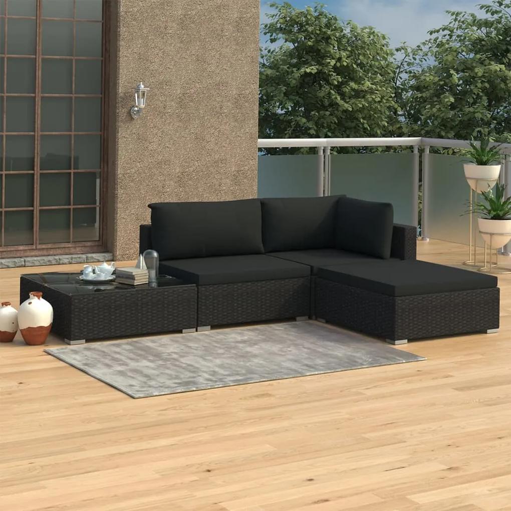 46780 vidaXL Set mobilier de grădină cu perne, 4 piese, negru, poliratan