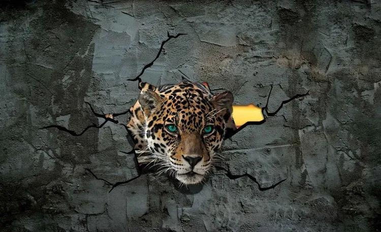 Leopard 3D Fototapet, (416 x 254 cm)