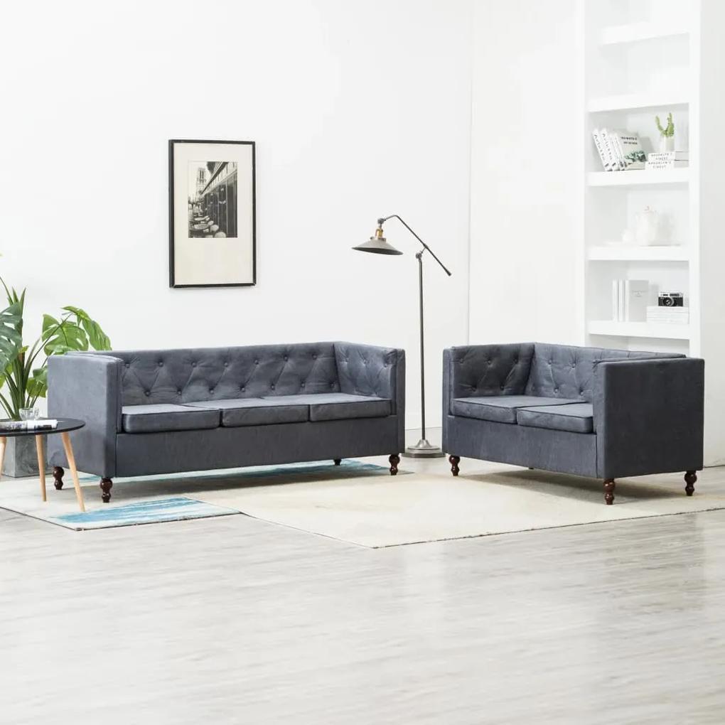 275630 vidaXL Set canapele Chesterfield, 2 piese, gri, tapițerie țesătură