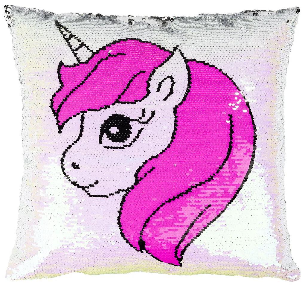Pernuță Unicorn cu paiete, roz, 40 x 40 cm