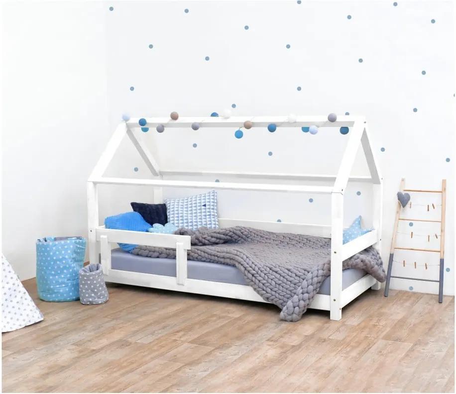 Pat pentru copii, din lemn de molid cu bariere de protecție laterale Benlemi Tery, 80 x 180 cm, alb