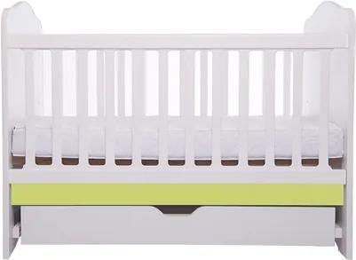 Patut Como cu sertar alb cu verde + saltea cocos confort 120 x 60 x 12 cm