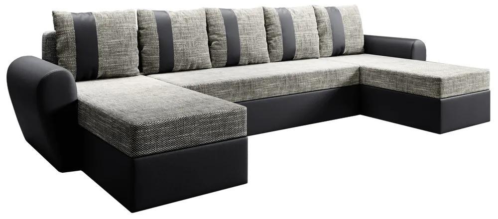 Canapea universală, negru / gri-maro, LUNY ROH U