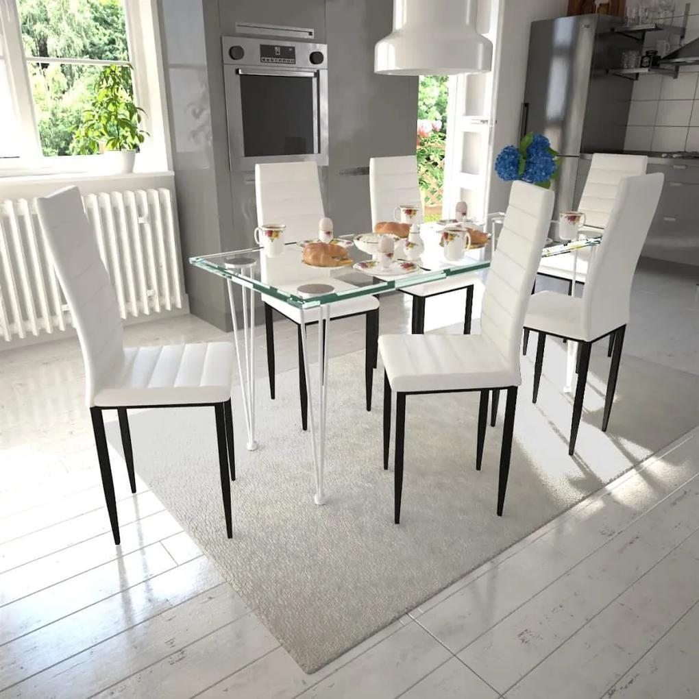 271692 vidaXL Set 6 scaune de culoare albă și masă de sticlă