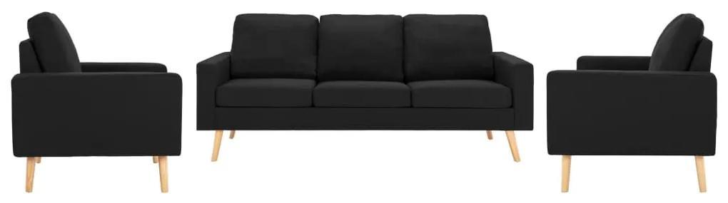 3056653 vidaXL Set de canapele, 3 piese, negru, material textil