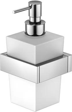 Dozator sapun lichid cu suport de perete Steinberg seria 460 crom/sticla alb satinat
