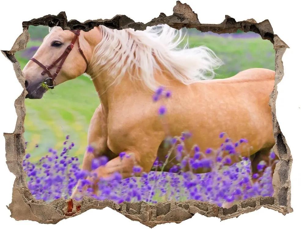 Autocolant autoadeziv gaură Un cal într-un câmp de lavandă