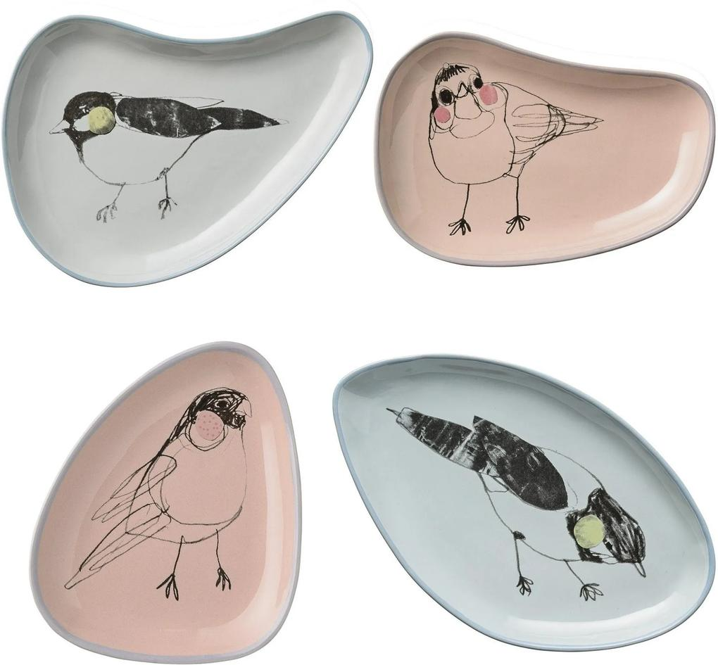 Set 4 Farfurii , Birds, Ceramica