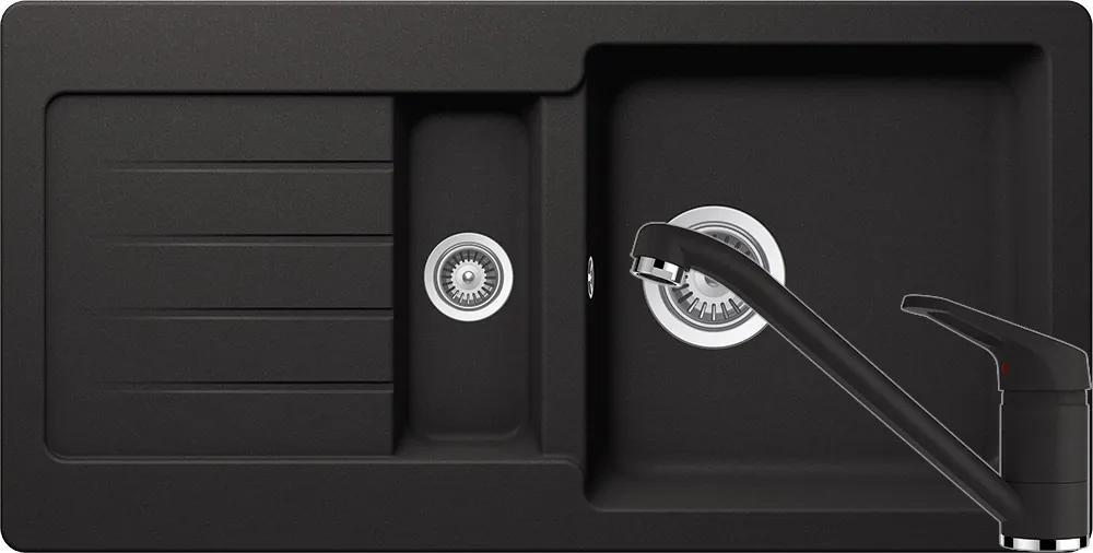Set Chiuveta Schock Typos D-150S 860 x 435 mm si Baterie Schock Cosmo Nero Cristalite