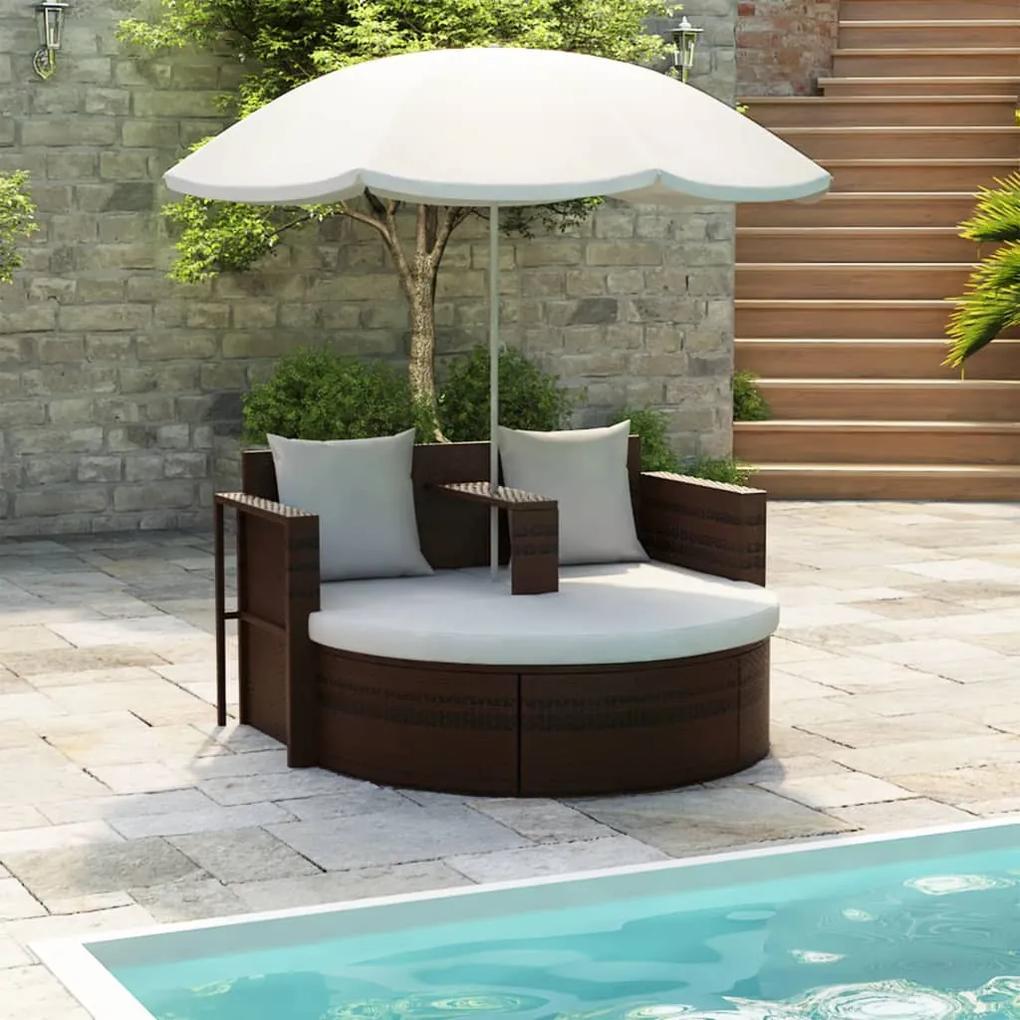 40734 vidaXL Pat de grădină cu umbrelă de soare, maro, poliratan