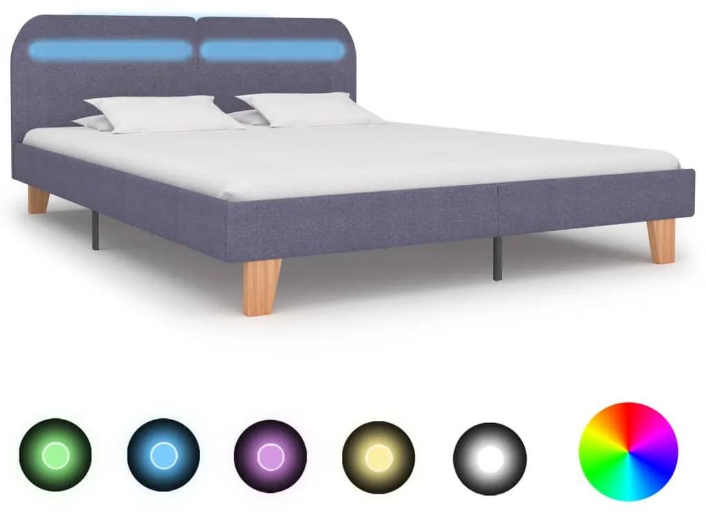 280899 vidaXL Cadru pat cu LED-uri, gri deschis, 160x200 cm, material textil