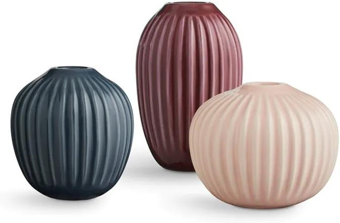Set 3 vaze din gresie Kähler Design Hammershoi Miniature, roz