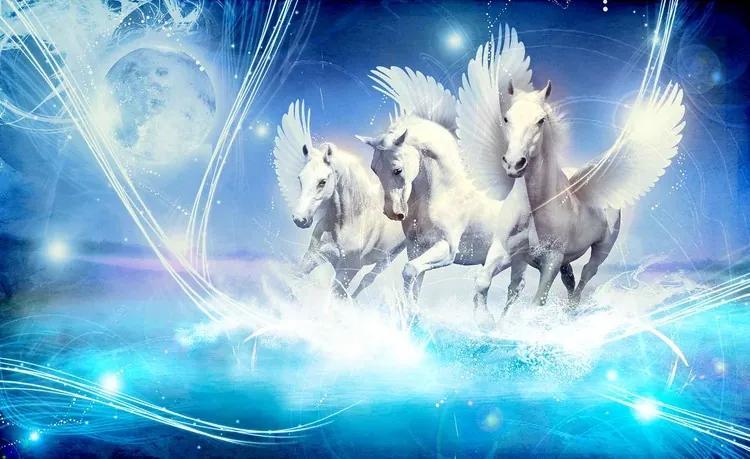 Winged Horse Pegasus Blue Fototapet, (254 x 184 cm)