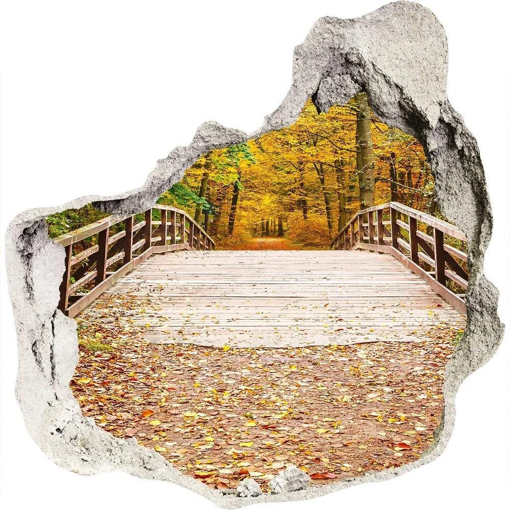 Fototapet 3D gaură în perete Podul în pădure toamnă