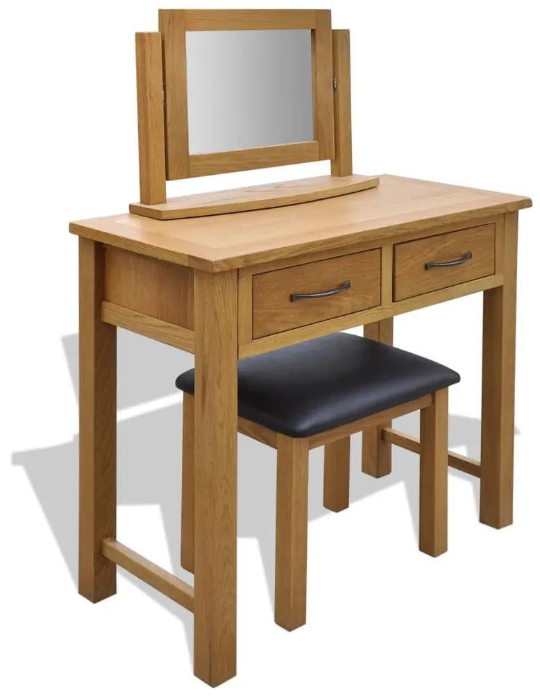 242742 vidaXL Masă de toaletă cu taburet, lemn masiv de stejar