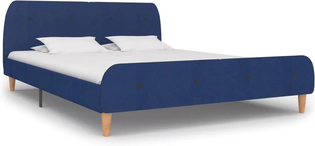 Cadru de pat, albastru, 180 x 200 cm, material textil