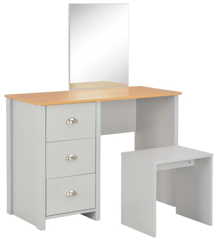 283744 vidaXL Masă de toaletă cu oglindă și taburet, gri, 104x45x131 cm