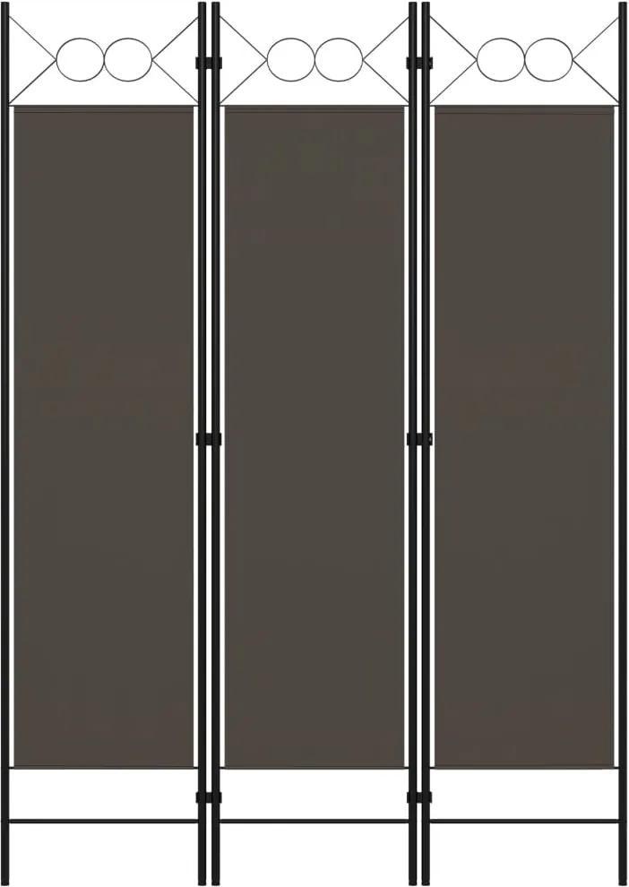 Paravan de camera cu 3 panouri, antracit, 120 x 180 cm