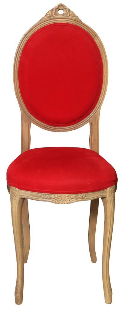 Scaun pentru copii din lemn natur cu tapiterie rosie 98 cm