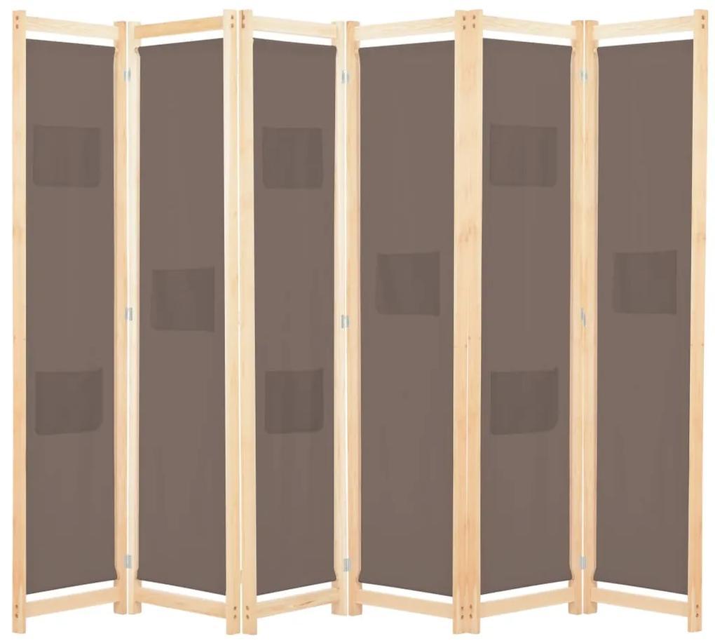248182 vidaXL Paravan cameră cu 6 panouri, maro, 240x170x4cm, material textil