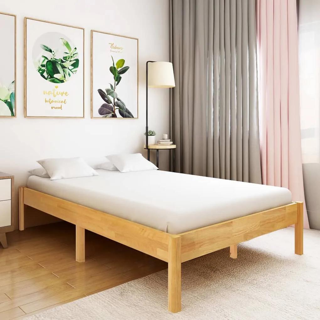 288479 vidaXL Cadru de pat, 140 x 200 cm, lemn masiv de stejar