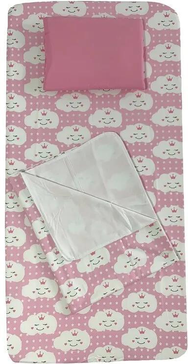 Deseda - Set 3 piese pat 120x60 cm cu cearsaf paturica si perna Norisori zambareti roz