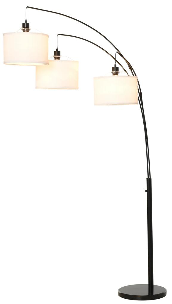 HOMCOM Lampa de Podea cu 3 Lumini si Brate Flexibile Baza din Marmura Inaltime 205cm