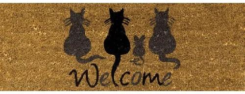 Covoras intrare cocos Welcome Cats 26x75 cm